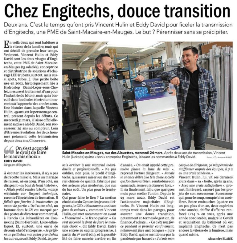 – Article Courrier de l'Ouest – Lundi 29 mars 2021 – Chez Engitechs, douce transition